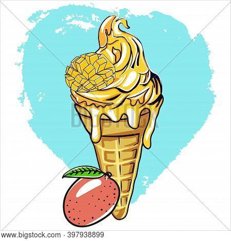 Yellow Ice Cream With Waffle Cone And Mango Aroma. Dessert Is Decorated With A Slice Of Mango. Carto