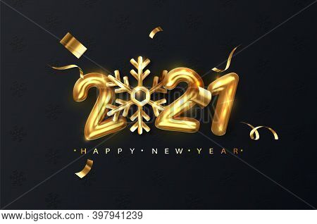 2021 Gold Numbers With Snowflake On Black Christmas Festive Glitter Background. New Year Greeting Ba