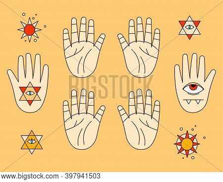 Halloween Sticker Pack. Palmistry, Line Prediction On The Hands, Evil Eye, Stars, Esoteric, Icons Fo