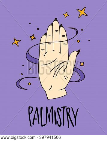 Halloween Illustration. Astrological Forecast, Horoscope, Palmistry, Stars, Icons For Chiromancy, Fo