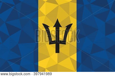 Low Poly Barbados Flag Vector Illustration. Triangular Barbadian Flag Graphic. Barbados Country Flag