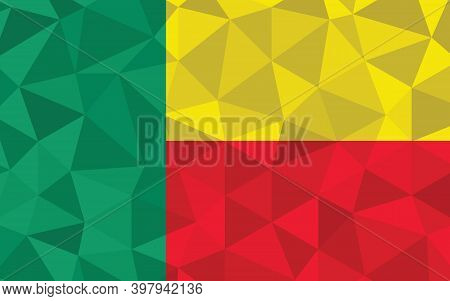 Low Poly Benin Flag Vector Illustration. Triangular Beninese Flag Graphic. Benin Country Flag Is A S