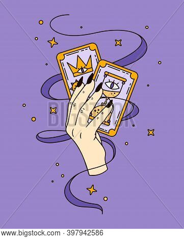 Logo For A Tarot Reader, Print For Souvenirs, A Set Of Drawings About Tarot Card. Halloween Illustra