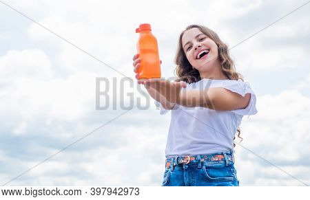 Young And Free. Feel Thirsty. Water Balance In Body. Moisturize And Hydration. Kid Drinking Refreshi