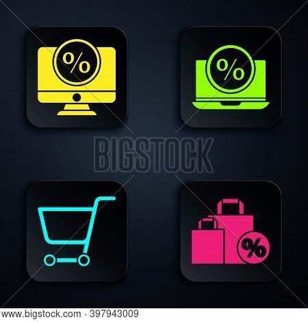 Set Shoping Bag With Discount, Percent Discount And Monitor, Shopping Cart And Percent Discount And