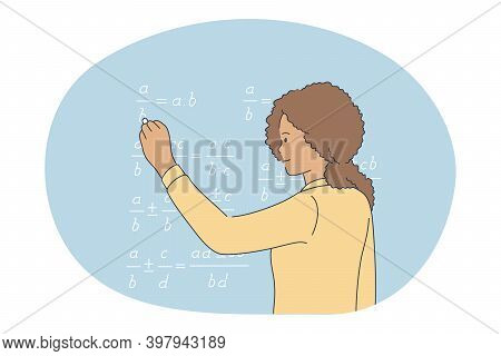 Studying In School, Pupil, Learning Concept. Young Curly Girl Cartoon Character Standing And Solving