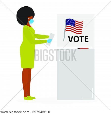 Voting Vector Illustration Election Day People Vote. People Give Their Vote For The Candidate. Usa A