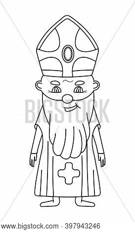 Bishop Coloring Page Vector. Cute Smiling Priest In Black Line Style. Easter Coloring Book