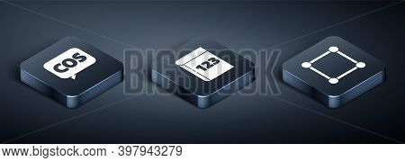 Set Isometric Mathematics Function Cosine, Geometric Figure Square And Book With Word Mathematics Ic