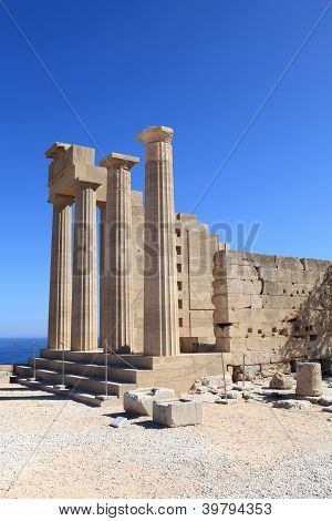 View Of Doric Temple Of Athena Lindia