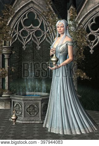 Young Priestess With A Magic Potion In A Secret Place Of Worship - 3d Illustration