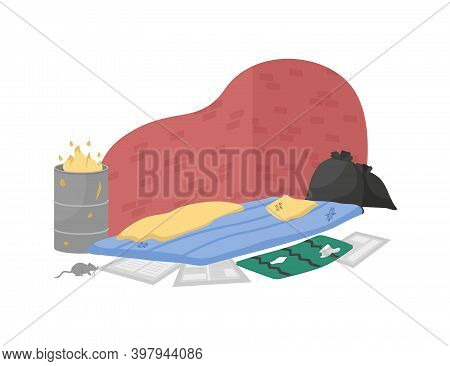 Homeless Sleeping Place Flat Color Vector Object. Garbage Bin. Ragged Mattress For Beggar. Dirty Urb