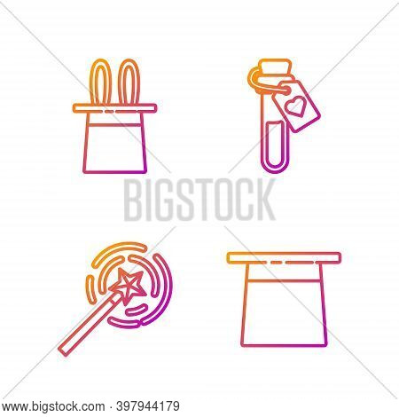 Set Line Magician Hat, Magic Wand, Magician Hat And Rabbit Ears And Bottle With Love Potion. Gradien