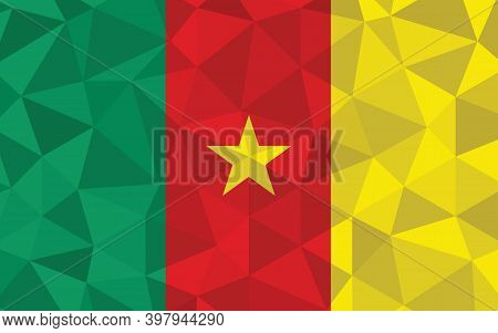 Low Poly Cameroon Flag Vector Illustration. Triangular Cameroonian Flag Graphic. Cameroon Country Fl