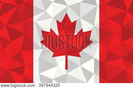 Low Poly Canada Flag Vector Illustration. Triangular Canadian Flag Graphic. Canada Country Flag Is A