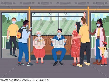 Passengers In Masks In Public Transport Flat Color Vector Illustration. Healthcare During Lockdown.
