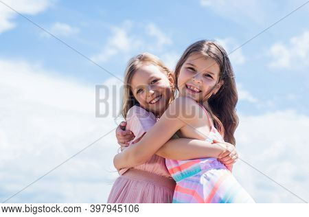Add Some Action To Your Life. Teenage Girls Sisters. Kid Fashion. Cheerful Family Day. Fashion And B