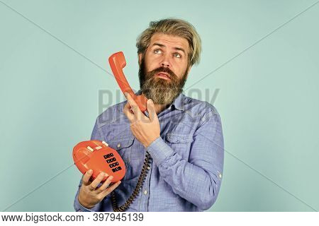 No Answer. Vintage Communication Device. Businessman Talking On Vintage Phone In His Office. Agile B