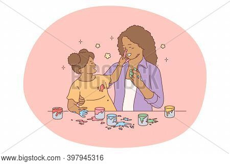 Mother And Daughter, Motherhood, Activities With Children Concept. Young Black Woman Mother Cartoon