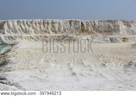 Clay Mining. Beautiful Background Of White Clay.
