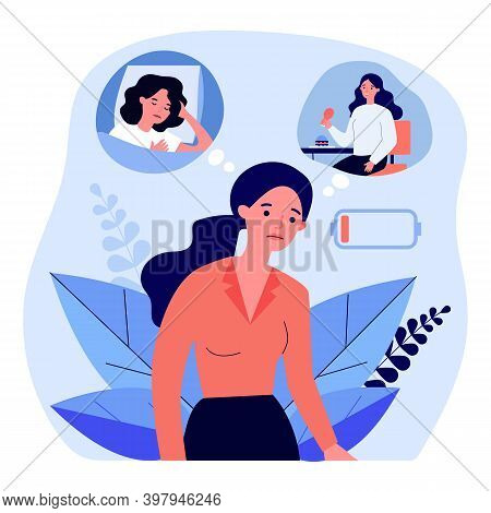 Tired Woman Feeling Low Lying Level. Out Of Battery, Bad Eating And Sleeping Flat Vector Illustratio