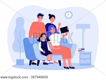 Happy Family Using Tablet For Video Call. Parents, Kid, Grandparent Flat Vector Illustration. Commun