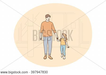Father And Daughter, Fathers Day, Activities With Children Concept. Young Positive Man Father Holdin