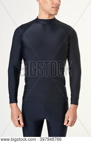 Man in a black long sleeved swimming top mockup