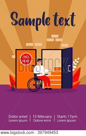 Handicapped Man In Wheelchair Looking At Staircase. Help, Restriction, Inability Flat Vector Illustr
