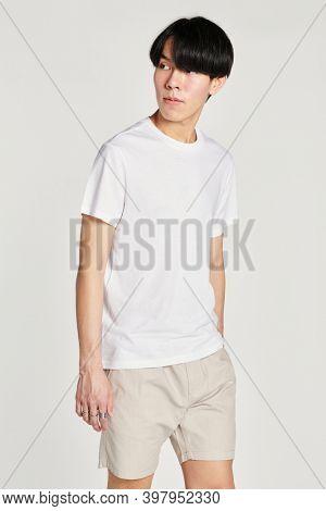 Asian man in white tee mockup
