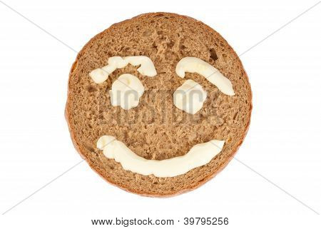 Round Of Rye Bread With Pictured Smile
