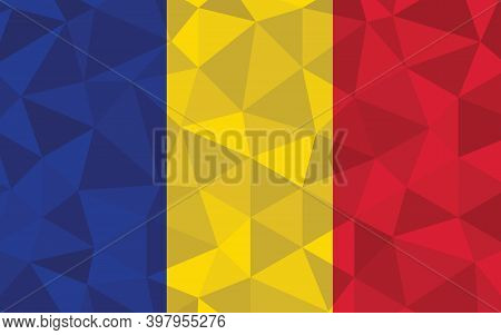 Low Poly Chad Flag Vector Illustration. Triangular Chadian Flag Graphic. Chad Country Flag Is A Symb
