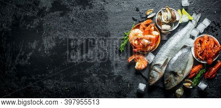 Raw Fish And Seafood On A Stone Board With Ice Cubes And Lime Slices.