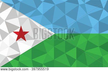 Low Poly Djibouti Flag Vector Illustration. Triangular Djiboutian Flag Graphic. Djibouti Country Fla