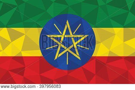 Low Poly Ethiopia Flag Vector Illustration. Triangular Ethiopian Flag Graphic. Ethiopia Country Flag