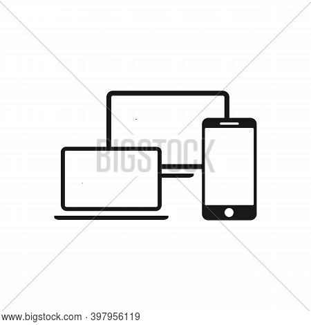 Electronic Devices Mobile Phone, Computer, Laptop, Tablet Vector Flat Design Icons
