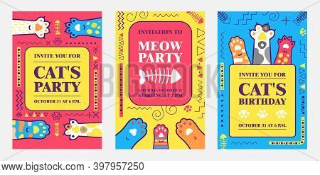 Creative Birthday Invitation Designs With Kitty Paws. Trendy Meow Or Cat Party Invitations With Text