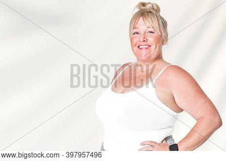 Size inclusive white tank top apparel mockup women's fashion