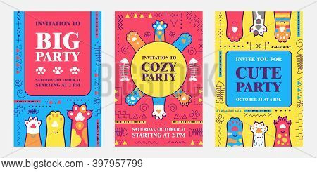 Creative Invitation Designs With Soft Cat Paws. Bright Cozy Meow Party Invitations With Text. Domest