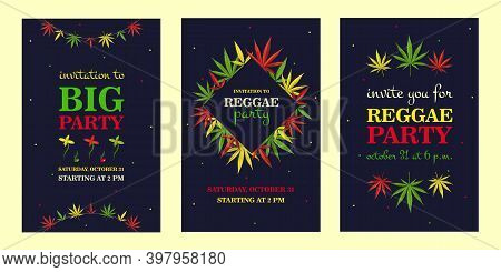 Creative Reggae Party Invitation Designs With Natural Ganja. Trendy Big Holiday Invitations With Tex