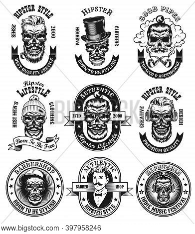 Monochrome Hipster Style Labels Vector Illustration Set. Retro Emblems With Bearded Skulls In Glasse
