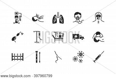 Artificial Lung Ventilation Flat Glyph Icons Set. Coronovirus Test And Medical Equipment For Covid-1