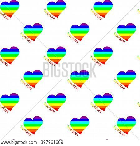 Vector Seamless Pattern Of Hearts And Word Freedom. Hearts As A Simbol Of Free Love In Colors Of Rai