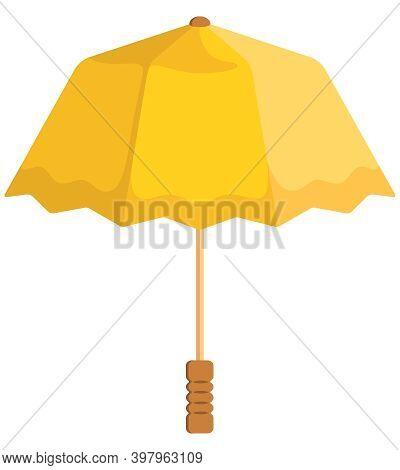 Yellow Unfolded Umbrella. Beautiful Accessory In Cartoon Style.