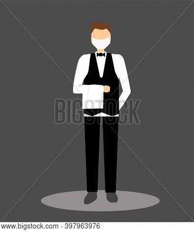 Waiter In Face Mask Serves Food, Handbrake, Towel By Hand. Waiter On Dark Background. Food Deliverym