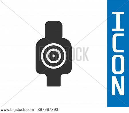 Grey Human Target Sport For Shooting Icon Isolated On White Background. Clean Target With Numbers Fo
