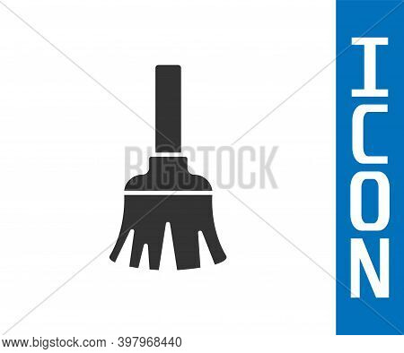 Grey Feather Broom For Cleaning Icon Isolated On White Background. Feather Duster. Vector
