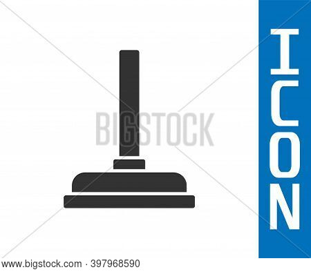 Grey Rubber Plunger With Wooden Handle For Pipe Cleaning Icon Isolated On White Background. Toilet P