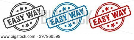 Easy Way Stamp. Easy Way Round Isolated Sign. Easy Way Label Set