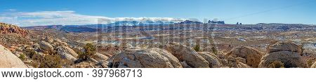 Panoramic Picture Of Mount Waas From Arches National Park